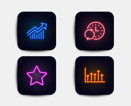 Neon glow lights. Set of Star, Update time and Demand curve icons. Growth chart sign. Best rank, Refresh clock, Statistical report. Upper arrows.  Neon icons. Glowing light banners. Vector