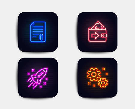 Neon glow lights. Set of Wallet, Startup rocket and Attachment icons. Work sign. Money payment, Business innovation, Attach file. Settings.  Neon icons. Glowing light banners. Vector Illustration