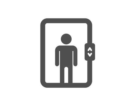 Icona di ascensore. Segno dell'ascensore di trasporto. Elemento di design di qualità. Icona di stile classico. Vettore