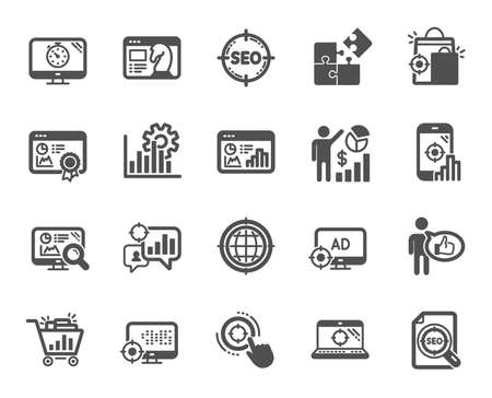 Seo icons. Set of Increase sales, Business Ad strategy and Website optimization icons. Puzzle, Web seo timer and Analytics increase graph. Search engine, Ad sales pie chart, like icon. Vector