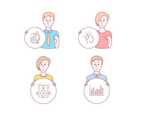 People hand drawn style. Set of Speakers, Brainstorming and Employee icons. Bar diagram sign. Sound, Lightning bolt, Cogwheel. Statistics infochart.  Character hold circle button. Man with like hand