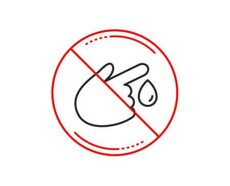 No or stop sign. Blood donation line icon. Medical help sign. Caution prohibited ban stop symbol. No  icon design.  Vector