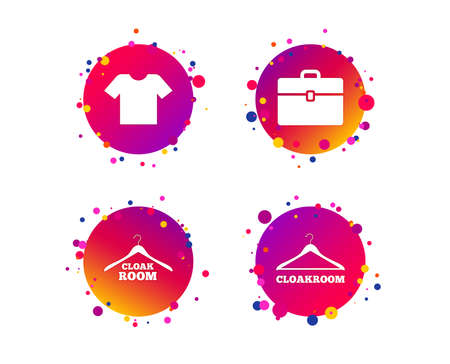 Cloakroom icons. Hanger wardrobe signs. T-shirt clothes and baggage symbols. Gradient circle buttons with icons. Random dots design. Vector Illustration