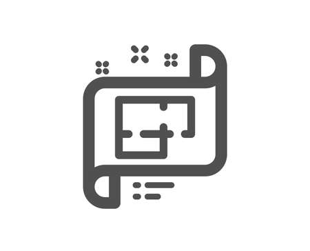Architectural plan icon. Technical project sign. Quality design element. Classic style icon. Vector  イラスト・ベクター素材