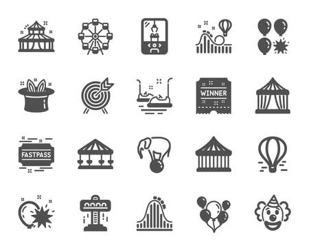 Amusement park icons. Set of Carousel, Roller coaster and Circus icons. Air balloon, Crane claw machine and Fastpass symbols. Circus amusement park tickets. Ferris wheel carousel. Vector