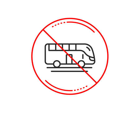 No or stop sign. Bus tour transport line icon. Transportation sign. Tourism or public vehicle symbol. Caution prohibited ban stop symbol. No  icon design.  Vector Banque d'images - 115750635