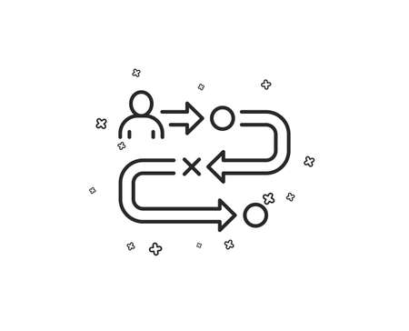 Journey path line icon. Project process sign. Geometric shapes. Random cross elements. Linear Journey path icon design. Vector