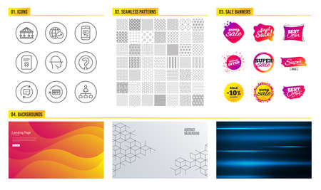 Seamless pattern. Shopping mall banners. Set of Update comments, Face scanning and Delete file icons. Refund commission, Question mark and Carousels signs. Vector Illusztráció