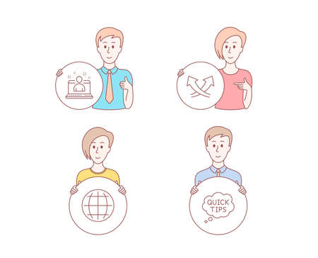 People hand drawn style. Set of Intersection arrows, Best manager and Globe icons. Quick tips sign. Exchange, Best developer, Internet world. Helpful tricks.  Character hold circle button. Vector