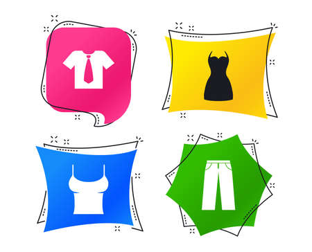 Clothes icons. T-shirt with business tie and pants signs. Women dress symbol. Geometric colorful tags. Banners with flat icons. Trendy design. Vector Illustration