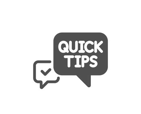 Quick tips icon. Helpful tricks speech bubble sign. Quality design element. Classic style icon. Vector  イラスト・ベクター素材