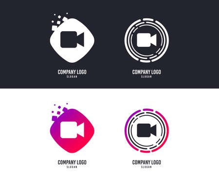 Logotype concept. Video camera sign icon. Video content button. Logo design. Colorful buttons with icons. Vector Illustration