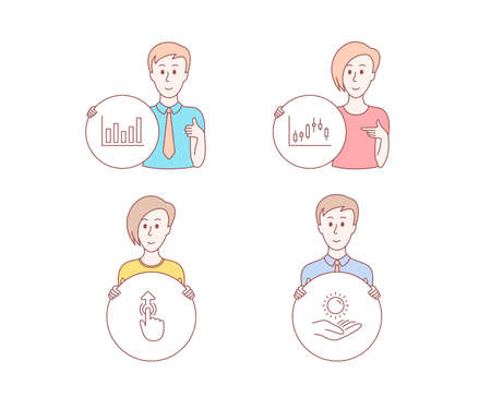 People hand drawn style. Set of Column chart, Candlestick graph and Swipe up icons. Sun protection sign. Financial graph, Finance chart, Touch technology. Ultraviolet care. Vector