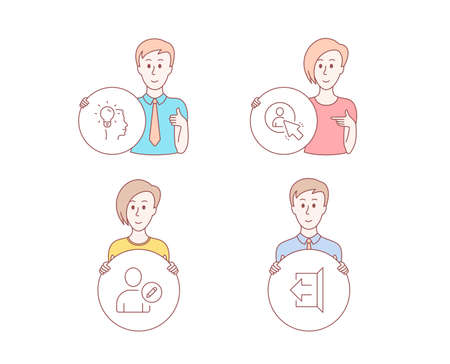 People hand drawn style. Set of Idea, User and Edit user icons. Sign out sign. Professional job, Project manager, Profile data. Logout.  Character hold circle button. Man with like hand. Vector Banque d'images - 115750682