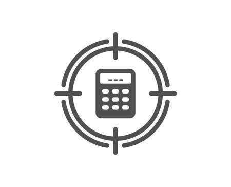Calculator in target icon. Accounting or Audit sign. Calculate finance symbol. Quality design element. Classic style icon. Vector Illustration