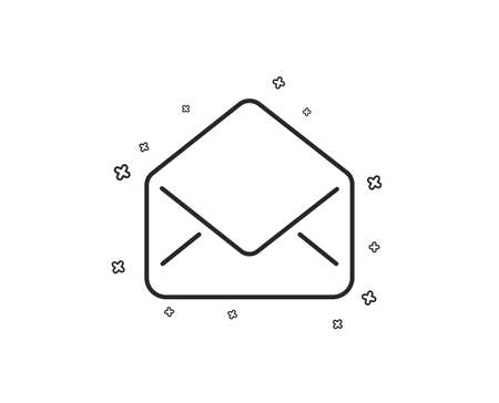 Mail line icon. Message correspondence sign. E-mail symbol. Geometric shapes. Random cross elements. Linear Mail icon design. Vector