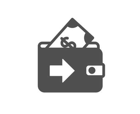 Wallet icon. Money payment sign. Dollar finance symbol. Quality design element. Classic style icon. Vector Ilustração