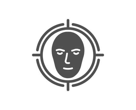 Face detect target icon. Head recognition sign. Identification symbol. Quality design element. Classic style icon. Vector Illustration