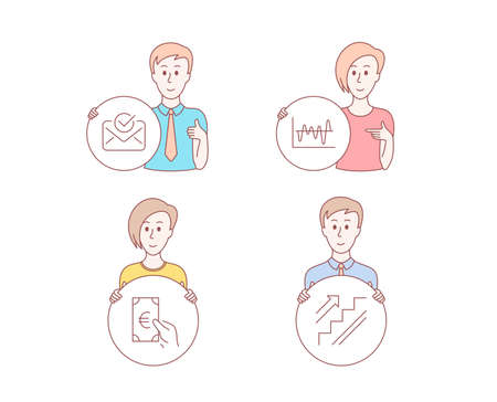 People hand drawn style. Set of Approved mail, Finance and Stock analysis icons. Stairs sign. Confirmed document, Eur cash, Business trade. Stairway.  Character hold circle button. Man with like hand