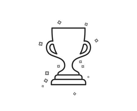 Award cup line icon. Winner Trophy symbol. Sports achievement sign. Geometric shapes. Random cross elements. Linear Award cup icon design. Vector