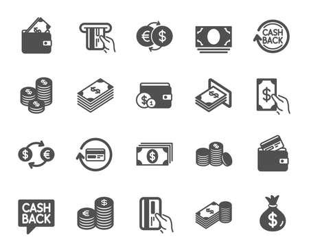 Iconos de dinero. Conjunto de iconos de banca, billetera y monedas. Servicio de tarjeta de crédito, cambio de moneda y devolución de dinero. Euro y dólar, monedero en efectivo, cambio. Tarjeta de crédito bancaria, pago en cajeros automáticos. Vector