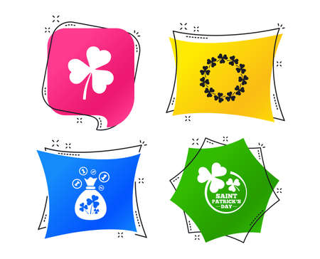 Saint Patrick day icons. Money bag with clover sign. Wreath of trefoil shamrock clovers. Symbol of good luck. Geometric colorful tags. Banners with flat icons. Trendy design. Vector