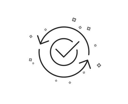 Approved line icon. Accepted or confirmed sign. Refresh symbol. Geometric shapes. Random cross elements. Linear Approved icon design. Vector Çizim