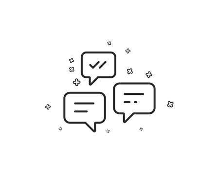 Chat Messages line icon. Conversation or SMS sign. Communication symbol. Geometric shapes. Random cross elements. Linear Chat Messages icon design. Vector