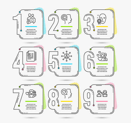 Infographic template with numbers 9 options. Set of Networking, Woman love and Face verified icons. Communication, Cv documents and Couple signs. Romantic talk, Writer and People communication symbols