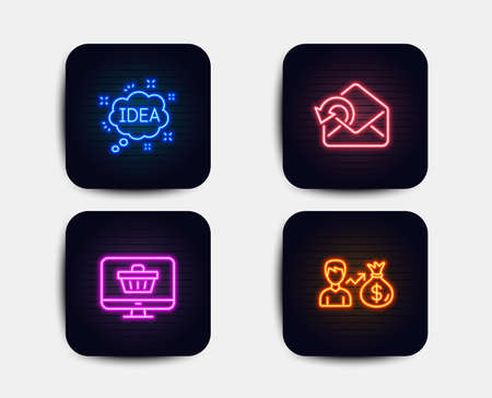 Neon glow lights. Set of Idea, Send mail and Web shop icons. Sallary sign. Creative message, Sent message, Shopping cart. Person earnings.  Neon icons. Glowing light banners. Vector