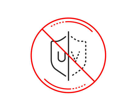 No or stop sign. UV protection line icon. Skin care sign. Healthy body symbol. Caution prohibited ban stop symbol. No  icon design.  Vector