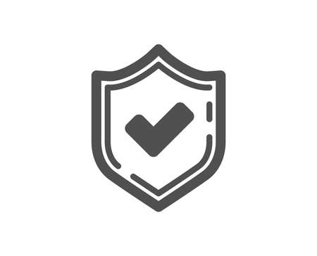 Check mark icon. Accepted or Approve sign. Tick shield symbol. Quality design element. Classic style icon. Vector Çizim