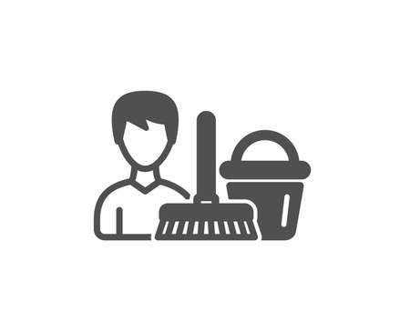 Cleaning service icon. Bucket with mop symbol. Washing Housekeeping equipment sign. Quality design element. Classic style icon. Vector Ilustração