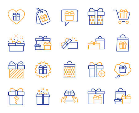 Gift line icons. Present box, Offer and Sale. Shopping cart, Tag and Chat. Speech bubble, Give a gift box, question mark, birthday discount. Shopping sale cart, present tag, delivery. Vector