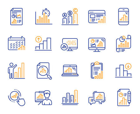 Graph line icons. Set of Chart presentation, Report, Increase growth graph icons. Analytics testing, Falling demand, Pie chart report. Calendar statistics, Stats. Ab testing, Increase sales. Vector