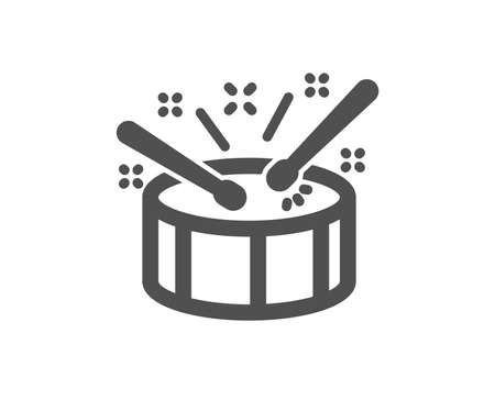 Drums with drumsticks icon. Music sign. Musical instrument symbol. Quality design element. Classic style icon. Vector Illustration