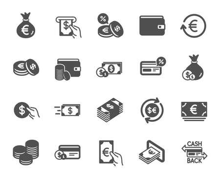 マネーウォレットアイコン。クレジットカード、現金、コインのアイコンのセット。銀行、外貨両替、キャッシュバックサービス。財布、ユーロとドルのお金、クレジットカード。現金交換、銀行支払い。ベクトル