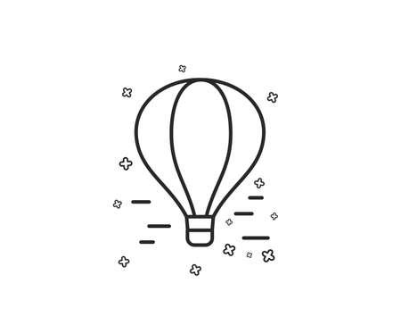 Air balloon line icon. Flight transport with basket sign. Amusement park symbol. Geometric shapes. Random cross elements. Linear Air balloon icon design. Vector Иллюстрация
