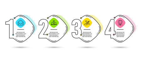 Plantilla de infografía 4 opciones o pasos. Conjunto de iconos de cohetes de correo, reestructuración y puesta en marcha. Signo de globo de aire. E-mail, Delegado, Innovación empresarial. Viajes aéreos. Diagrama de proceso, diseño de flujo de trabajo Ilustración de vector