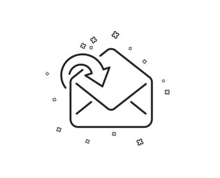 Receive Mail download line icon. Incoming Messages correspondence sign. E-mail symbol. Geometric shapes. Random cross elements. Linear Receive Mail icon design. Vector