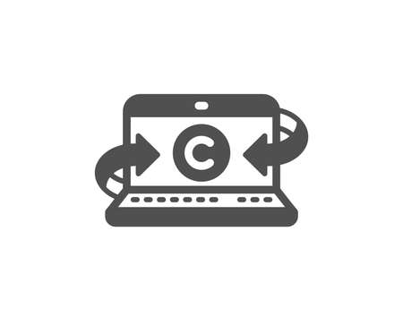 Copywriting notebook icon. Ð¡opyright sign. Media content symbol. Quality design element. Classic style icon. Vector Ilustração