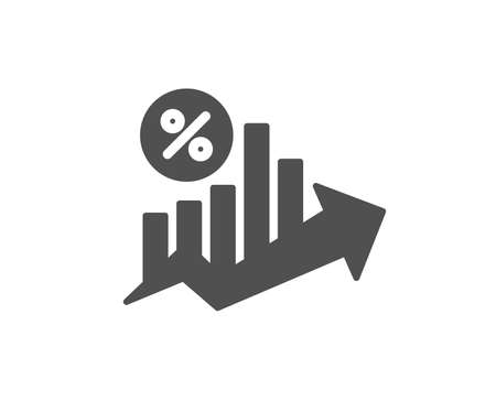 Loan percent growth chart icon. Discount sign. Credit percentage symbol. Quality design element. Classic style icon. Vector