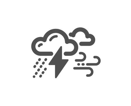 Clouds with raindrops, lightning, wind icon. Bad weather sign. Quality design element. Classic style icon. Vector
