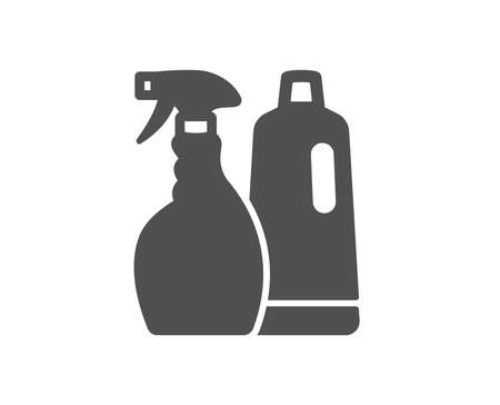 Cleaning spray and Shampoo icon. Washing liquid or Cleanser symbol. Housekeeping equipment sign. Quality design element. Classic style icon. Vector Ilustracja