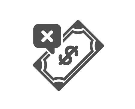 Rejected Payment icon. Dollar money sign. Finance symbol. Quality design element. Classic style icon. Vector Stock fotó - 125931894