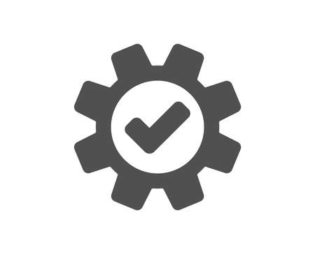 Cogwheel icon. Approved Service sign. Transmission Rotation Mechanism symbol. Quality design element. Classic style icon. Vector