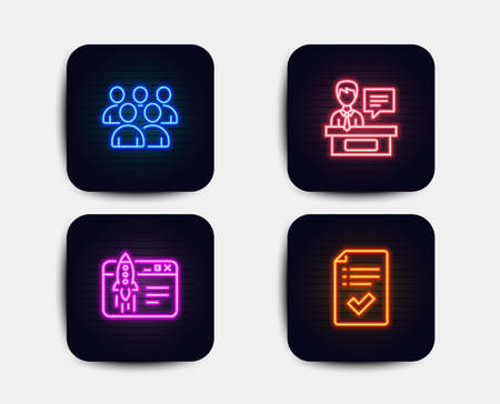 Neon glow lights. Set of Group, Exhibitors and Start business icons. Approved checklist sign. Developers, Information desk, Launch idea. Accepted message.  Neon icons. Glowing light banners. Vector