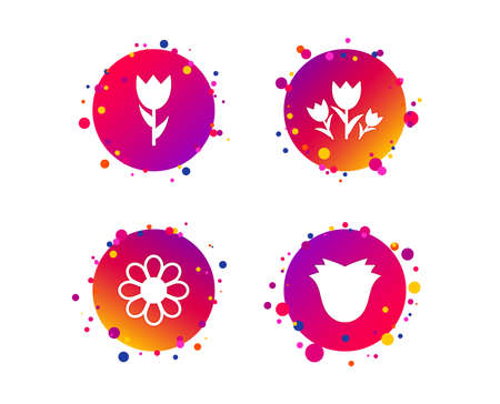 Flowers icons. Bouquet of roses symbol. Flower with petals and leaves. Gradient circle buttons with icons. Random dots design. Vector