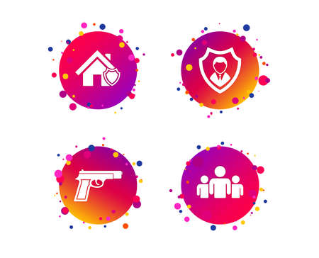 Security agency icons. Home shield protection symbols. Gun weapon sign. Group of people or Share. Gradient circle buttons with icons. Random dots design. Vector