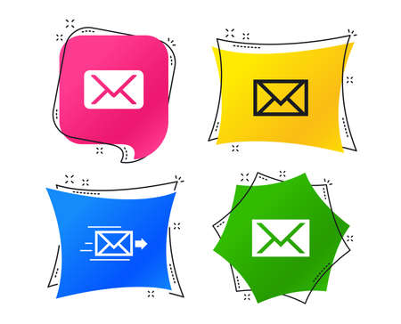 Mail envelope icons. Message delivery symbol. Post office letter signs. Geometric colorful tags. Banners with flat icons. Trendy design. Vector